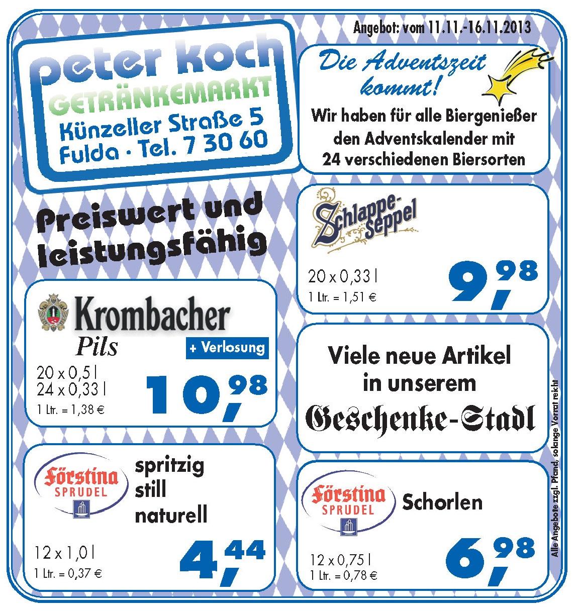 Aktuelles peter koch getr nkefachmarkt fulda ber 300 for Koch 300 biersorten fulda